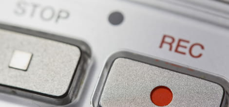 Close up of dictaphone buttons